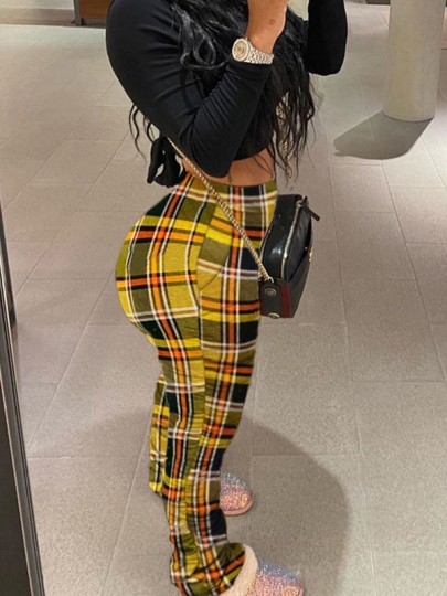 Yellow Plaid Pleated Scrunch Casual High Waisted Long Pant