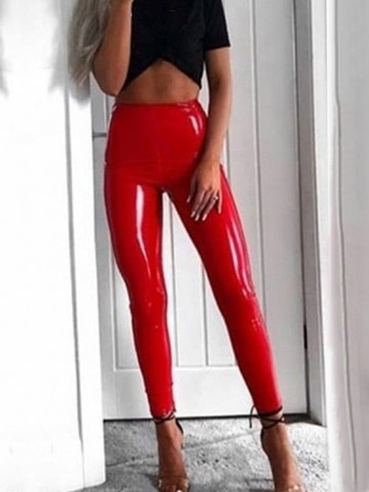 Red PU Leather Latex Sparkly High Waisted Fashion Club Long Pants