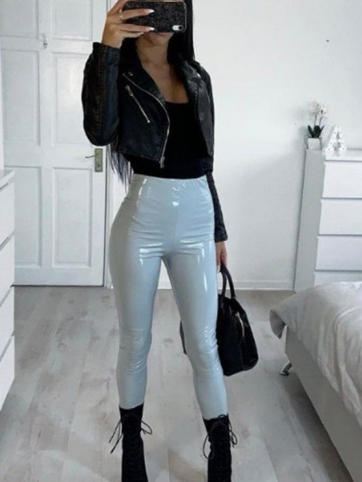 Grey PU Leather Sparkly High Waisted Fashion Long Pants