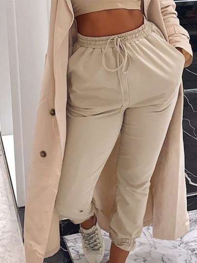 Apricot Patchwork Pockets New Fashion Latest Women High Waisted Streetwear Long Pants