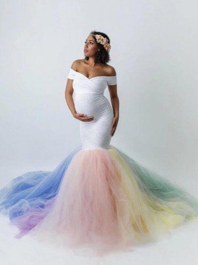 White Patchwork Grenadine Off Shoulder Backless Mermaid Babyshower PhotoShoot Elegant Maternity Dress