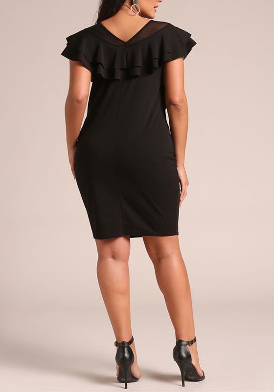 Black Patchwork Grenadine Cascading Ruffle Plus Size Bodycon Banquet Party  Midi Dress