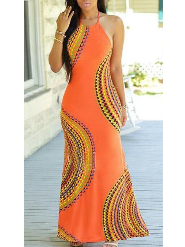 Orange Tribal Print Cut Out Backless Slit Halter Neck Off Shoulder Plus  Size Bohemian Maxi Dress