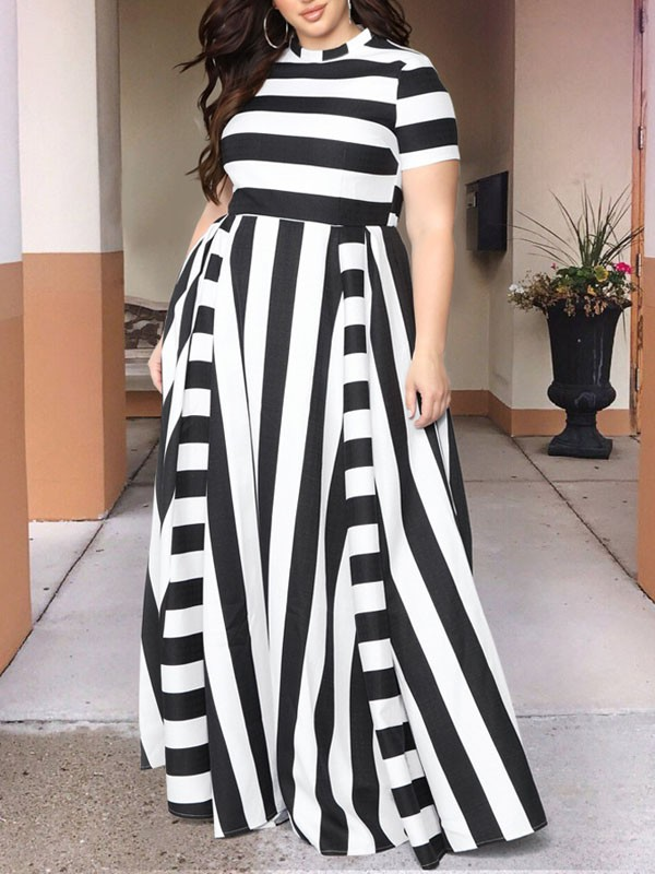 Black Striped Pleated Plus Size Prom Evening Party Maxi Dress