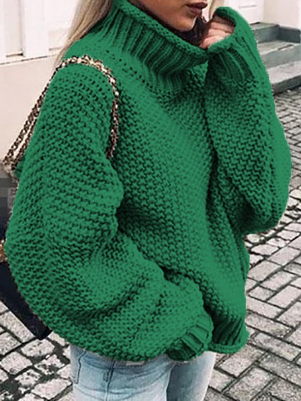 Green High Neck Long Sleeve Oversize Fashion Pullover Sweater