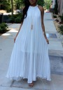 White Pleated Tie Back Sleeveless Halter Neck A-line Bohemian Maxi Dress