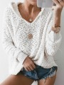 White Drawstring Hooded Long Sleeve Fashion Pullover Sweater