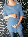 Blue Buttons Irregular Round Neck Long Sleeve Casual Maternity Pullover Sweater