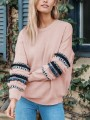 Pink Striped Ruffle Tassel Round Neck Long Sleeve Casual Sweatshirt