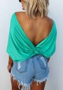 Green Round Neck Half Sleeve Backless Knot Going out T-Shirt