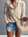 Khaki Buttons Long Sleeve Casual Going out Sweet T-Shirt