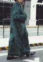 Dark Green Long Sleeve Faux Fur Long Casual Coat