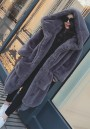 Dark Grey Draped Pockets Zipper Faux Fur Oversize Hooded Long Sleeve Thick Coat