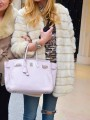 Beige Faux Fur Round Neck Long Sleeve Fashion Coat