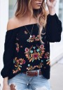Black Floral Embroidery Boat Neck Long Sleeve Fashion Blouse