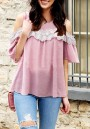 Pink Lace Draped Cut Out Sleeve Plus Size Sweet Going out Blouse