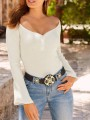 White Single Breasted Buttons V-neck Long Sleeve Casual Summer T-Shirt