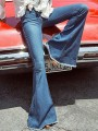 Dark Blue Pockets Buttons High Waisted Mom Flare Long Jeans