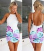 White Flowers Print Backless Sexy Dress