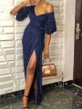 Navy Blue Bright Wire Off Shoulder Thigh High Side Slits Sparkly Glitter Birthday Party Maxi Dress