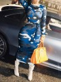 Blue Camouflage Sashes Long Sleeve Bodycon Clubwear Party Maxi Dress