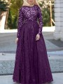 Purple Patchwork Lace Grenadine High Waisted Elegant Banquet Party Maxi Dress