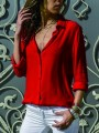 Red Patchwork Buttons Fashion V-neck Long Sleeve Office Daily Blouse