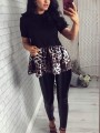 Black Round Neck Short Sleeve Patchwork Leopard Peplum Tutu Ruched Work Casual Cute Blouse