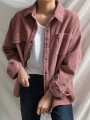Red Corduroy Button Pocket Oversize Turndown Collar Long Sleeve Fashion Blouse