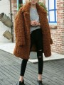 Camel Patchwork Oversize Teddy Turndown Collar Long Sleeve Fashion Outerwear
