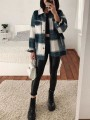 Green Plaid Pocket Button Turndown Collar Long Sleeve Boyfriend Oversize Jacket