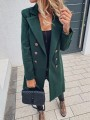 Green Double Breasted Turndown Collar Long Sleeve Elegant Wool Coat