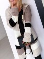 Grey Brown Color Block Hooded Long Sleeve Oversize Fashion Cardigan Sweater