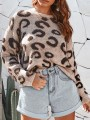 Camel Leopard Print Round Neck Long Sleeve Fashion Pullover Sweater