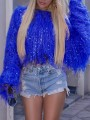 Sapphire Blue Patchwork Sequin Tassel Knit Fuzzy Sparkly Crop NYE Party Pullover Sweater