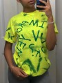 Green Letter Pattern Round Neck Short Sleeve Casual T-Shirt