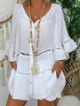 White Cut Out Ruffle Bodycon Comfy V-neck 3/4 Sleeve Going out T-Shirt