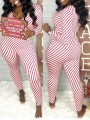 Red-White Striped Print V-neck Long Sleeve Christmas Santa Pajama Long Jumpsuit