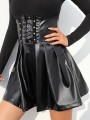 Black Zipper PU Leather Vinyl Drawstring Lace-up High Waisted Pleated Gothic Tutu Cute Mini Skirt