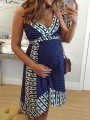Navy Blue Floral Irregular Comfy Fashion Maternity Dress