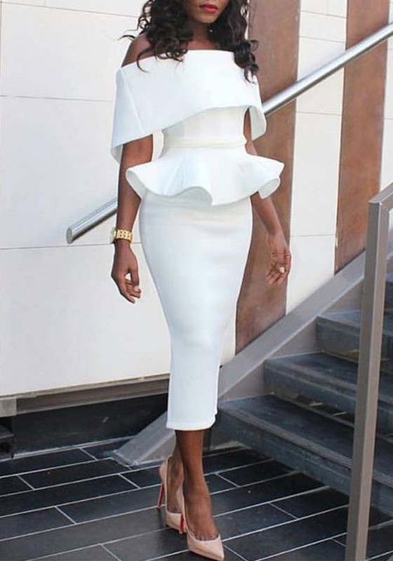 White Plain Ruffle Bandeau Peplum Off Shoulder Elegant