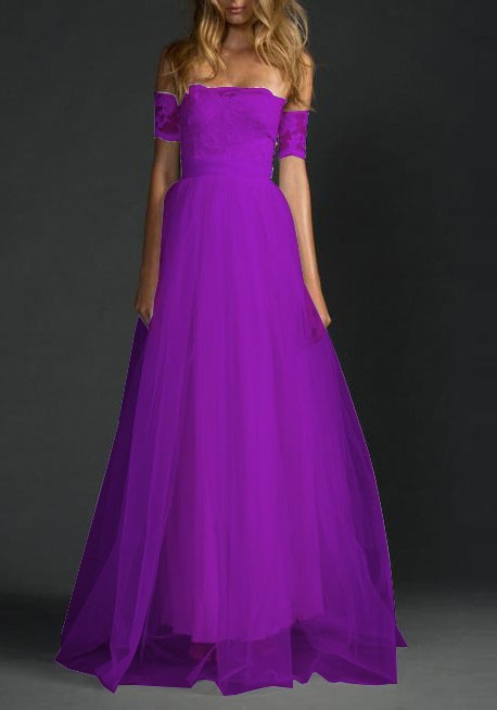Purple draped lace grenadine off shoulder backless for for Purple maxi dresses for weddings
