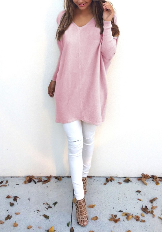 Pink Plain V-neck Long Sleeve Fashion Pullover Sweater - Pullovers ...