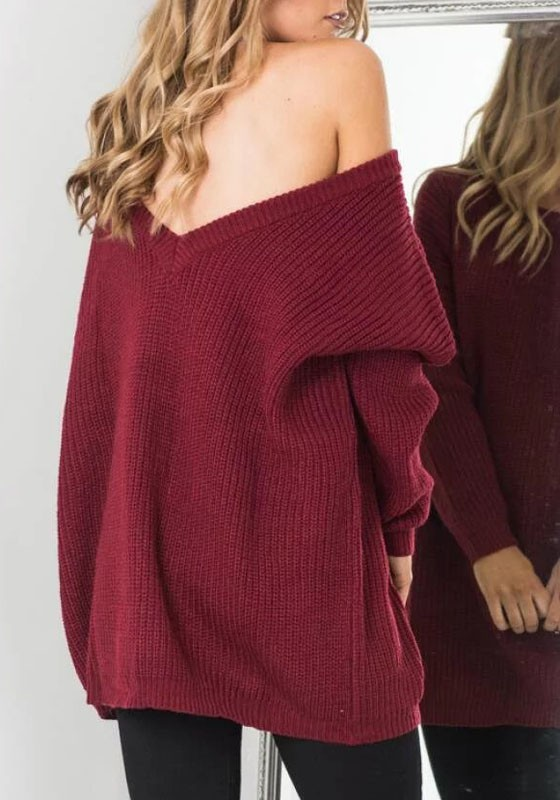 Burgundy Plain V-Back Off Shoulder Backless Oversized Casual ...