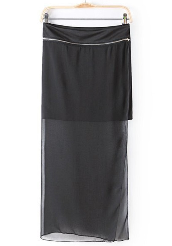 Black Plain Chiffon Skirt - Skirts - Bottoms
