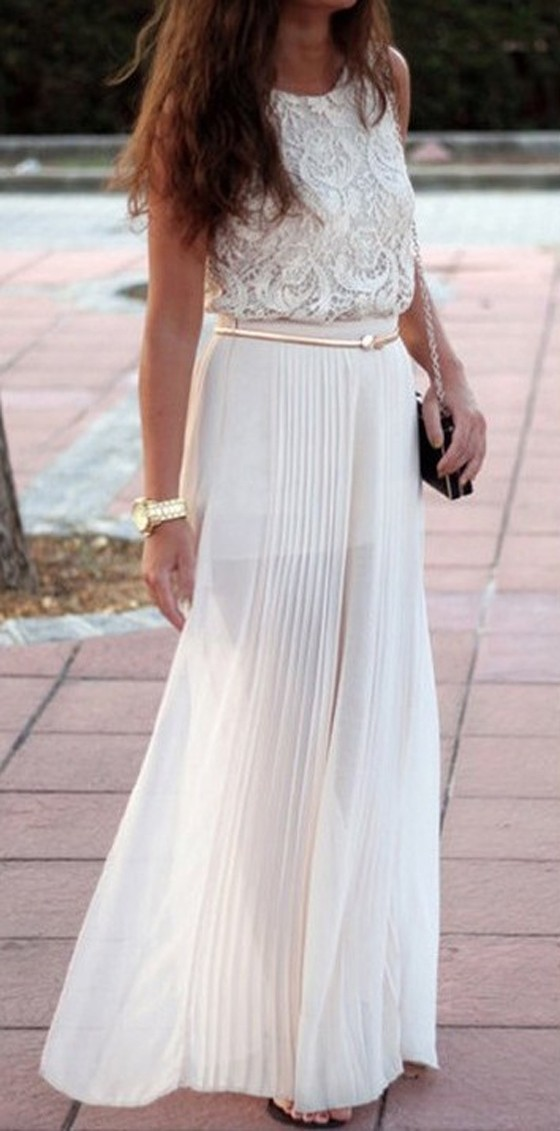 White Plain Pleated Bohemian Maxi Skirt - Skirts - Bottoms
