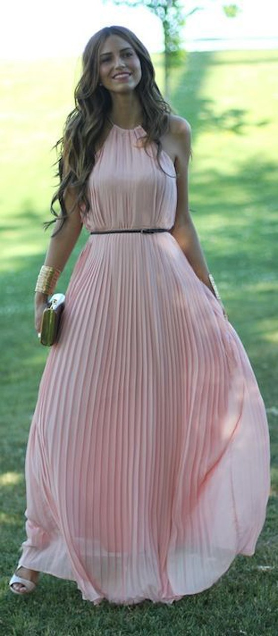 Pink plain draped sleeveless elegant chiffon maxi dress for What to wear over a sleeveless dress to a wedding