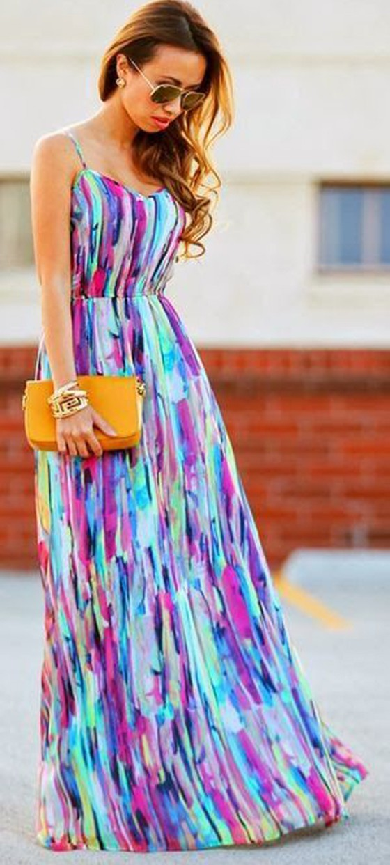 rainbow colorful condole belt strappy floor length