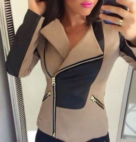 Khaki Patchwork Zipper Tailored Collar Long Sleeve Jacket