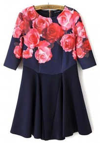 Blue Flowers Print Round Neck Elbow Sleeve Dress